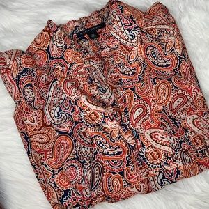 Banana Republic Paisley V-neck Blouse 100% Silk